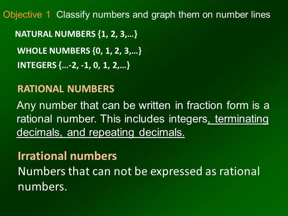 Numbers that can not be expressed as rational numbers.
