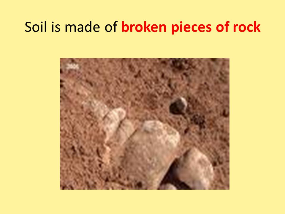 Soil is made of broken pieces of rock