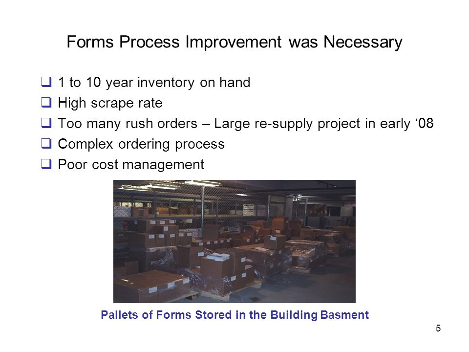 Forms Process Improvement was Necessary
