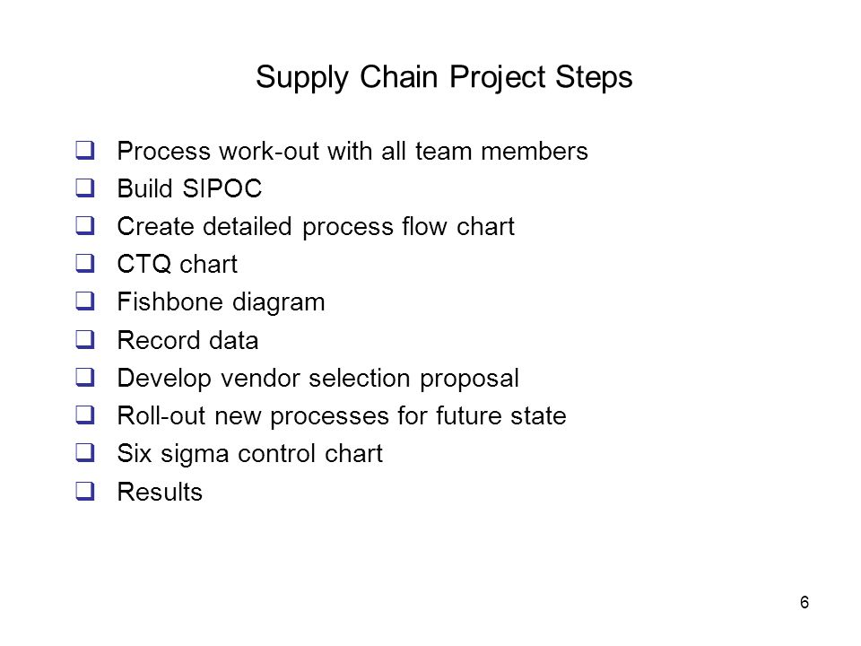 Supply Chain Project Steps
