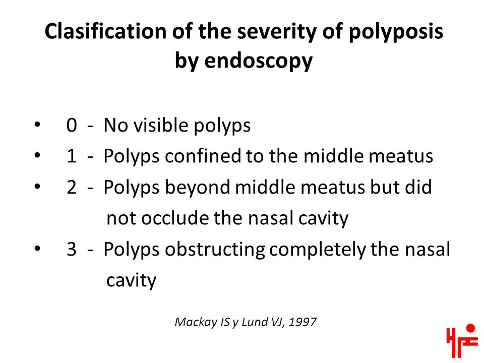 Clasification of the severity of polyposis by endoscopy