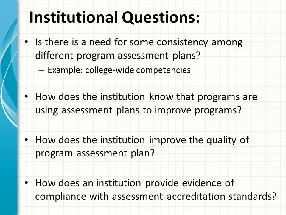 Institutional Questions: