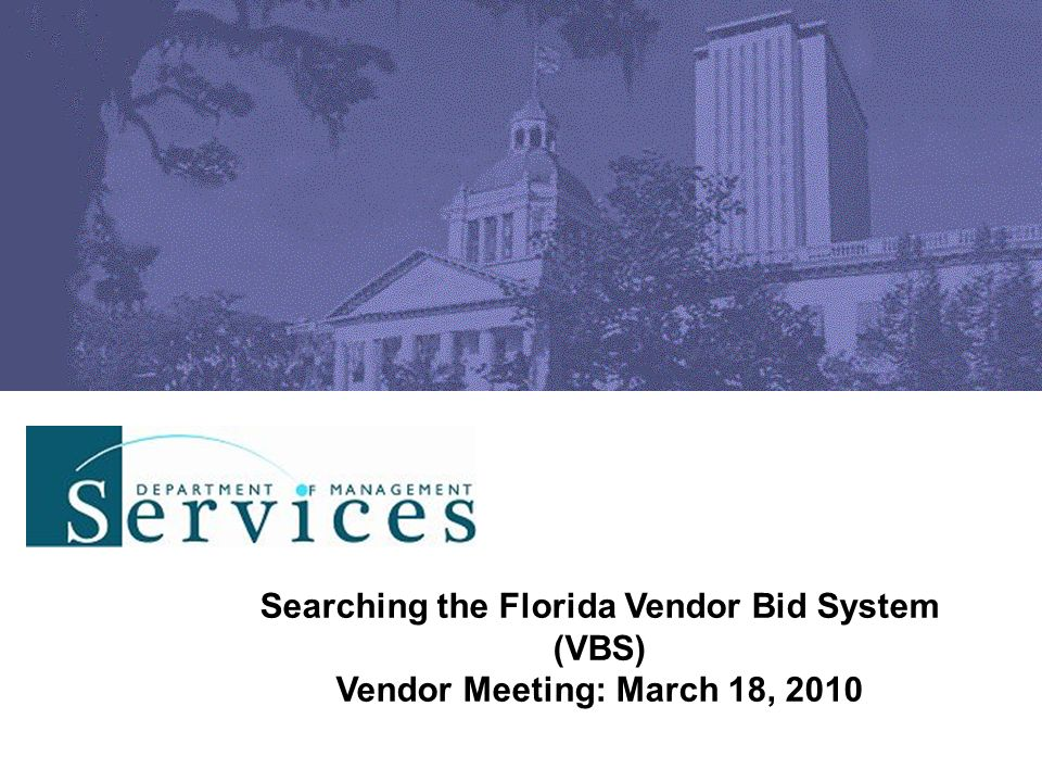 Searching the Florida Vendor Bid System (VBS)