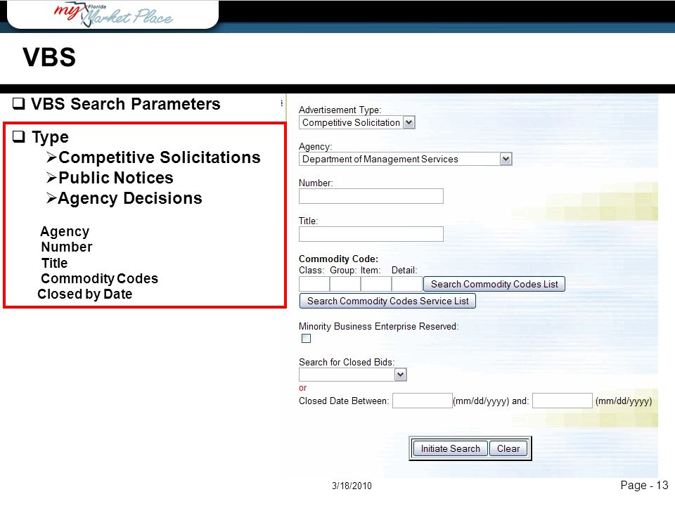 VBS VBS Search Parameters Type Competitive Solicitations