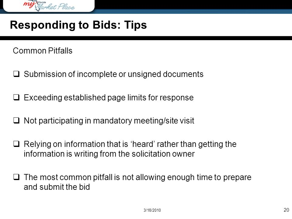 Responding to Bids: Tips