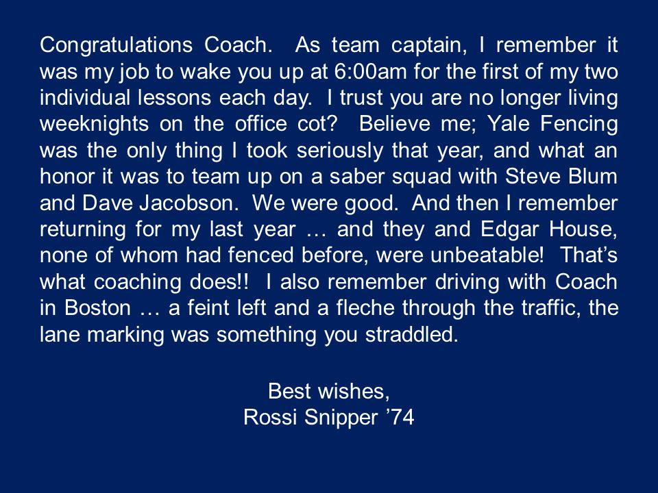 Congratulations Coach