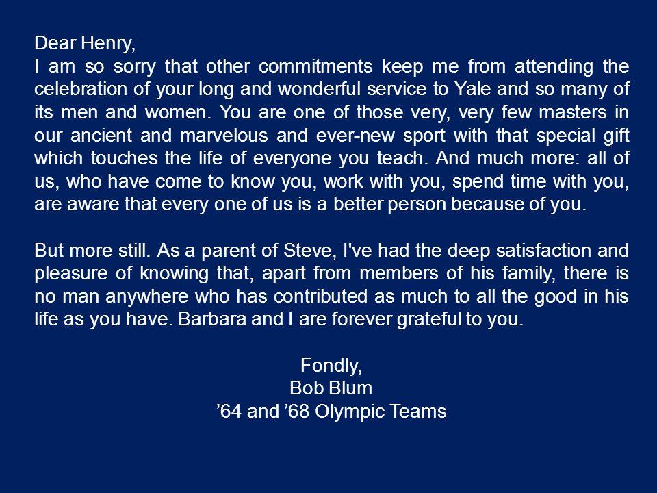 Dear Henry,