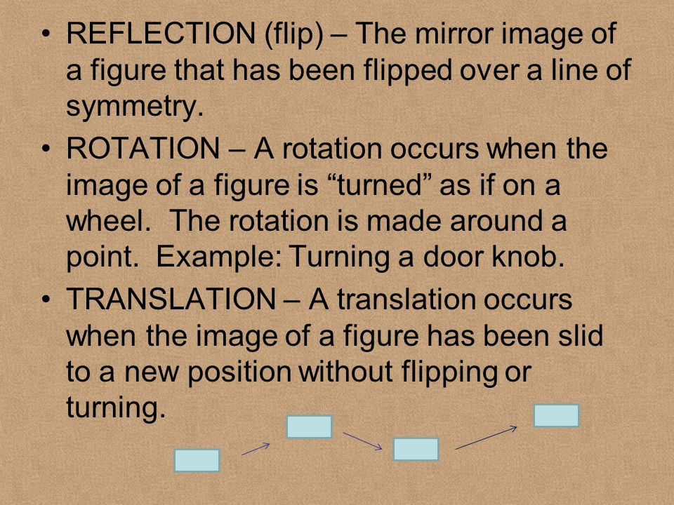 REFLECTION (flip) – The mirror image of a figure that has been flipped over a line of symmetry.