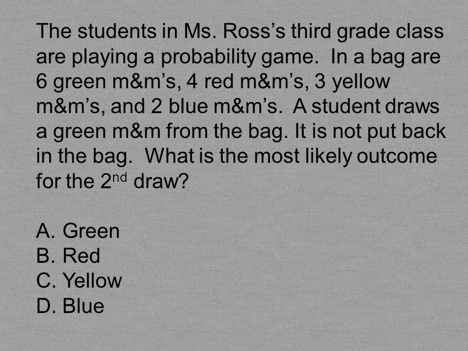 The students in Ms. Ross's third grade class are playing a probability game. In a bag are 6 green m&m's, 4 red m&m's, 3 yellow m&m's, and 2 blue m&m's. A student draws a green m&m from the bag. It is not put back in the bag. What is the most likely outcome for the 2nd draw
