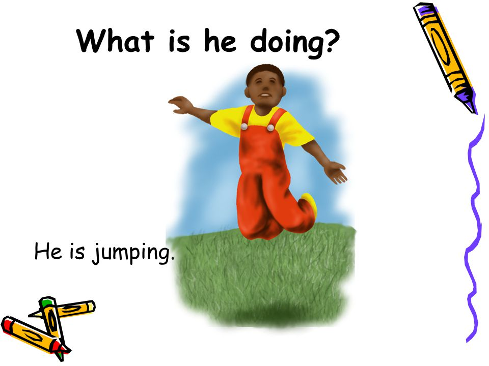 What is he doing He is jumping.