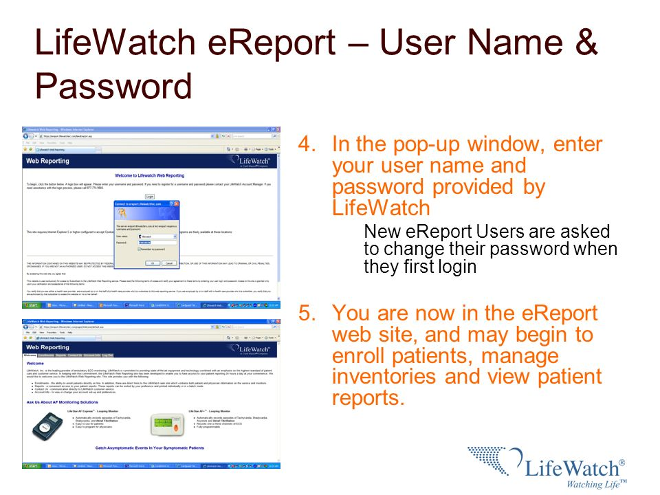 LifeWatch eReport – User Name & Password