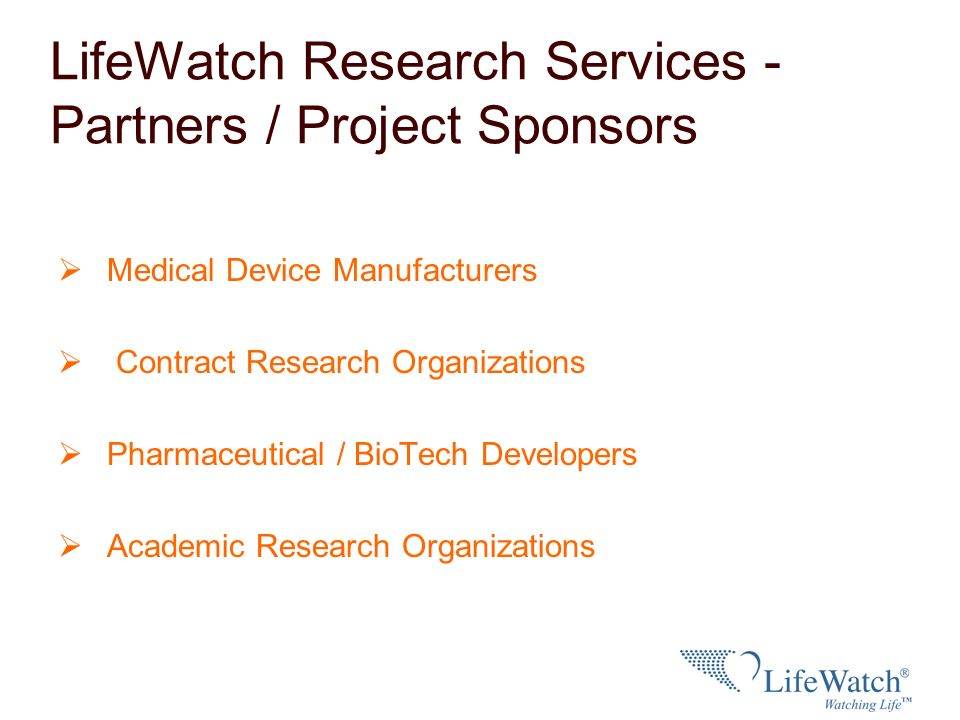 LifeWatch Research Services - Partners / Project Sponsors