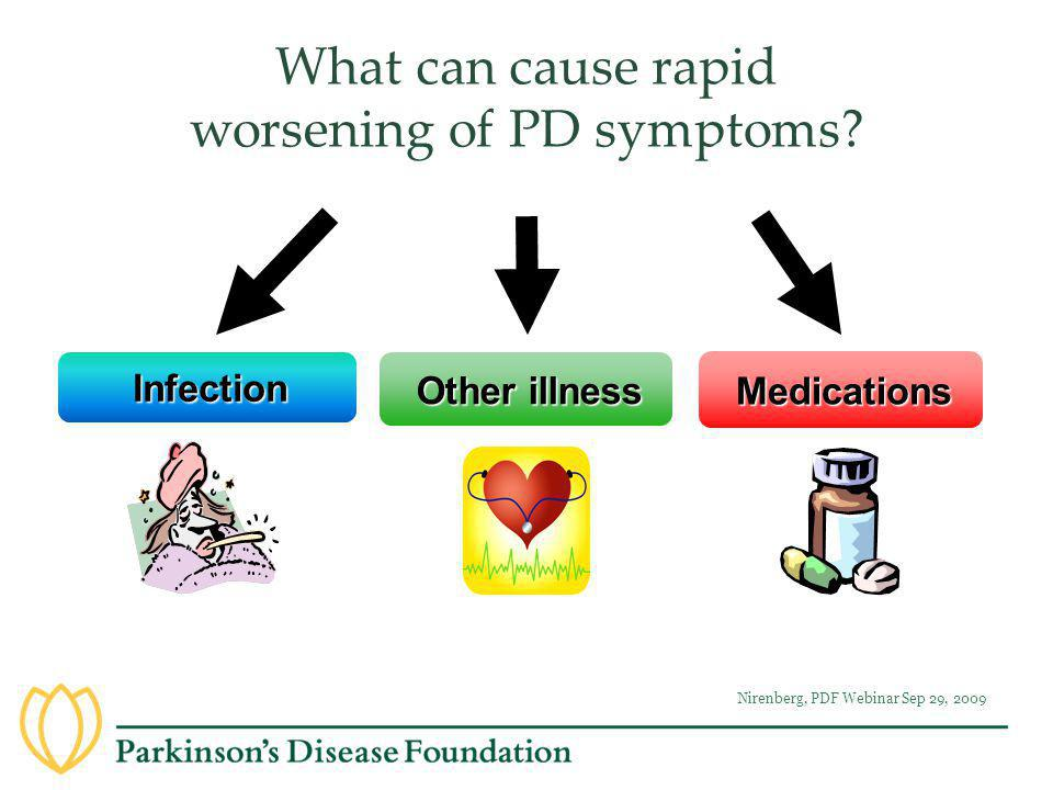 What can cause rapid worsening of PD symptoms