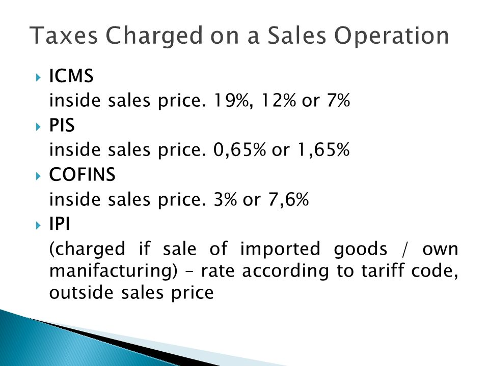 Taxes Charged on a Sales Operation