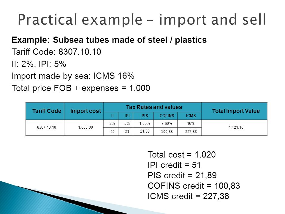 Practical example – import and sell
