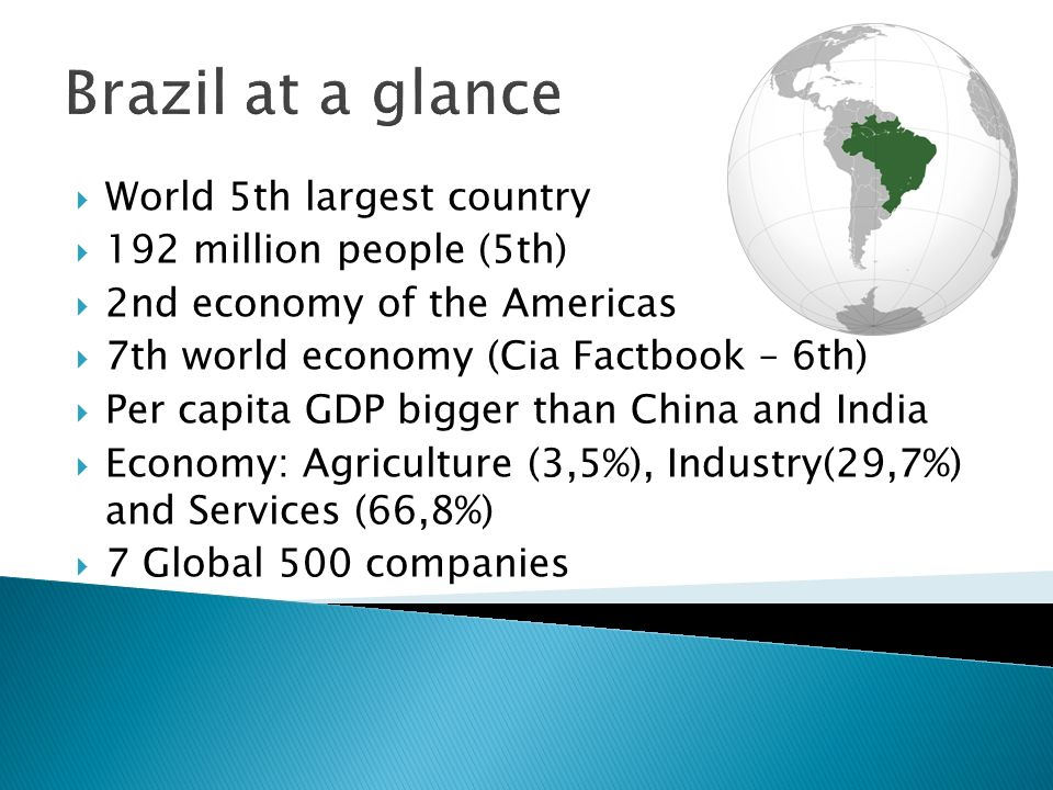 Brazil at a glance World 5th largest country 192 million people (5th)