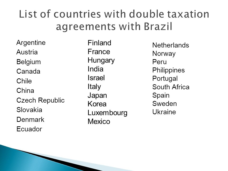 List of countries with double taxation agreements with Brazil