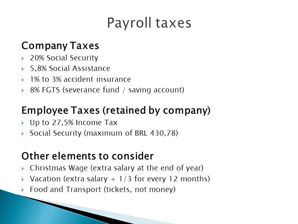 Payroll taxes Company Taxes Employee Taxes (retained by company)