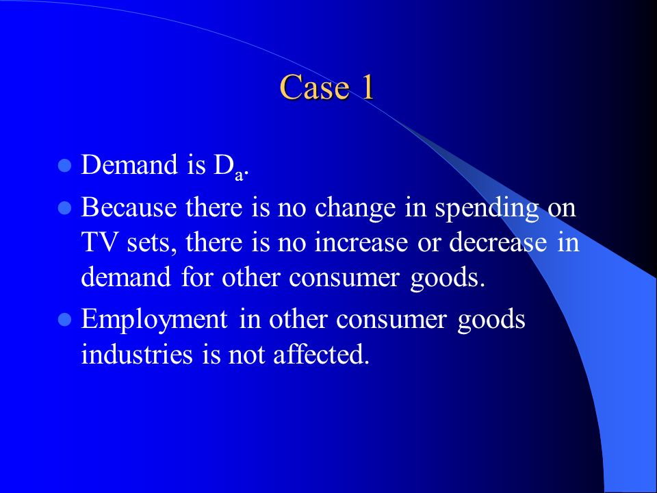 Case 1 Demand is Da. Because there is no change in spending on TV sets, there is no increase or decrease in demand for other consumer goods.