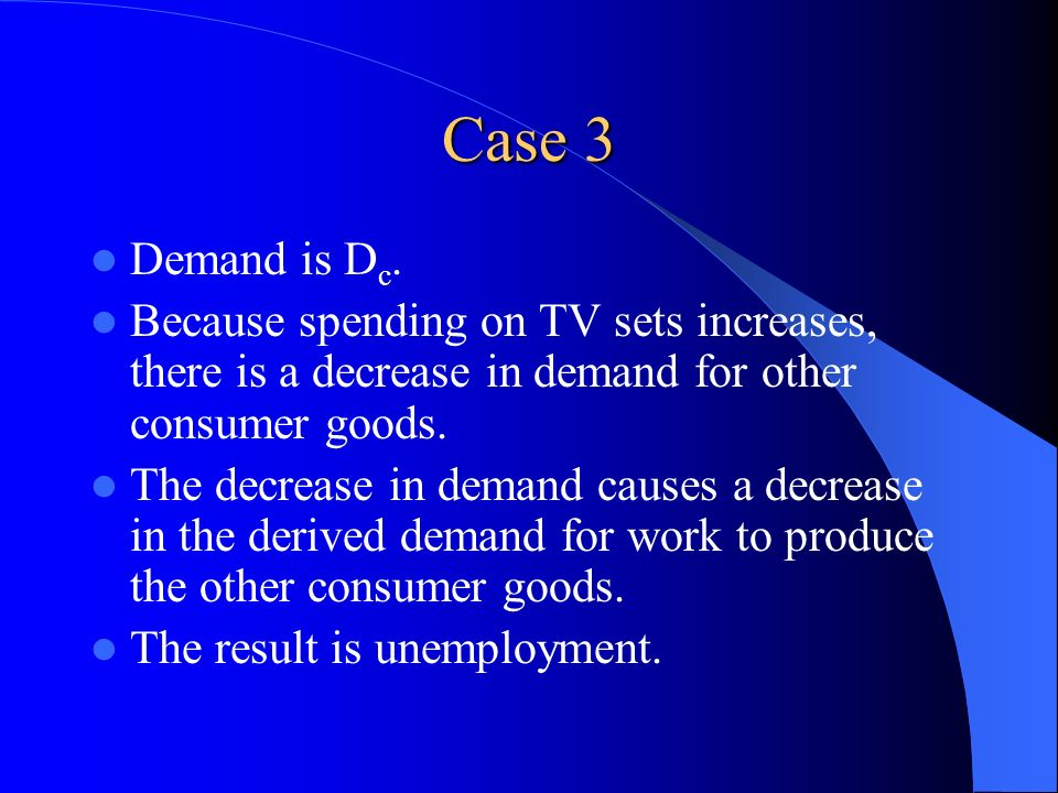 Case 3 Demand is Dc. Because spending on TV sets increases, there is a decrease in demand for other consumer goods.