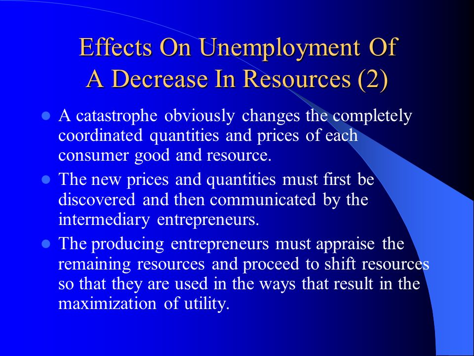Effects On Unemployment Of A Decrease In Resources (2)