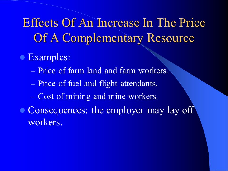 Effects Of An Increase In The Price Of A Complementary Resource