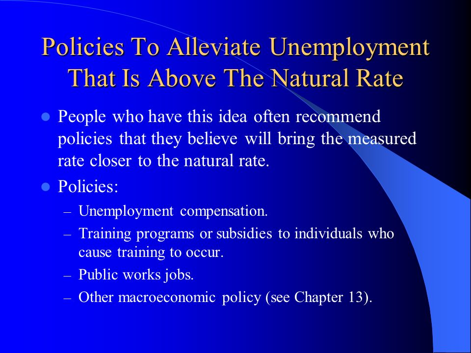 Policies To Alleviate Unemployment That Is Above The Natural Rate