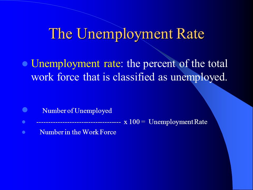 The Unemployment Rate Unemployment rate: the percent of the total work force that is classified as unemployed.