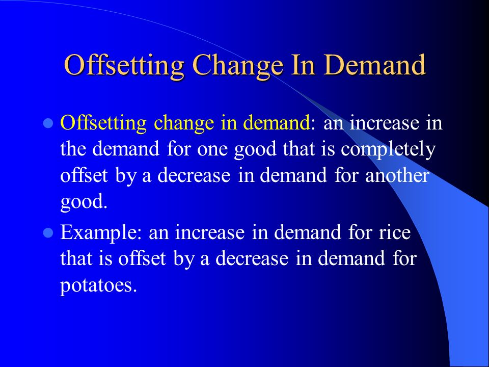 Offsetting Change In Demand