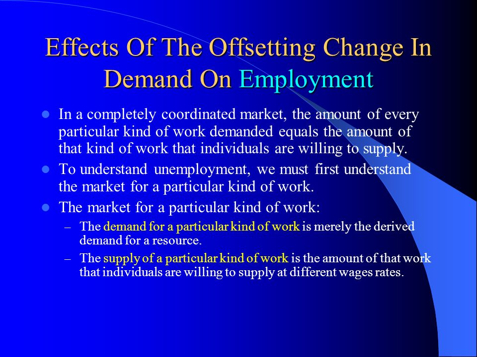Effects Of The Offsetting Change In Demand On Employment