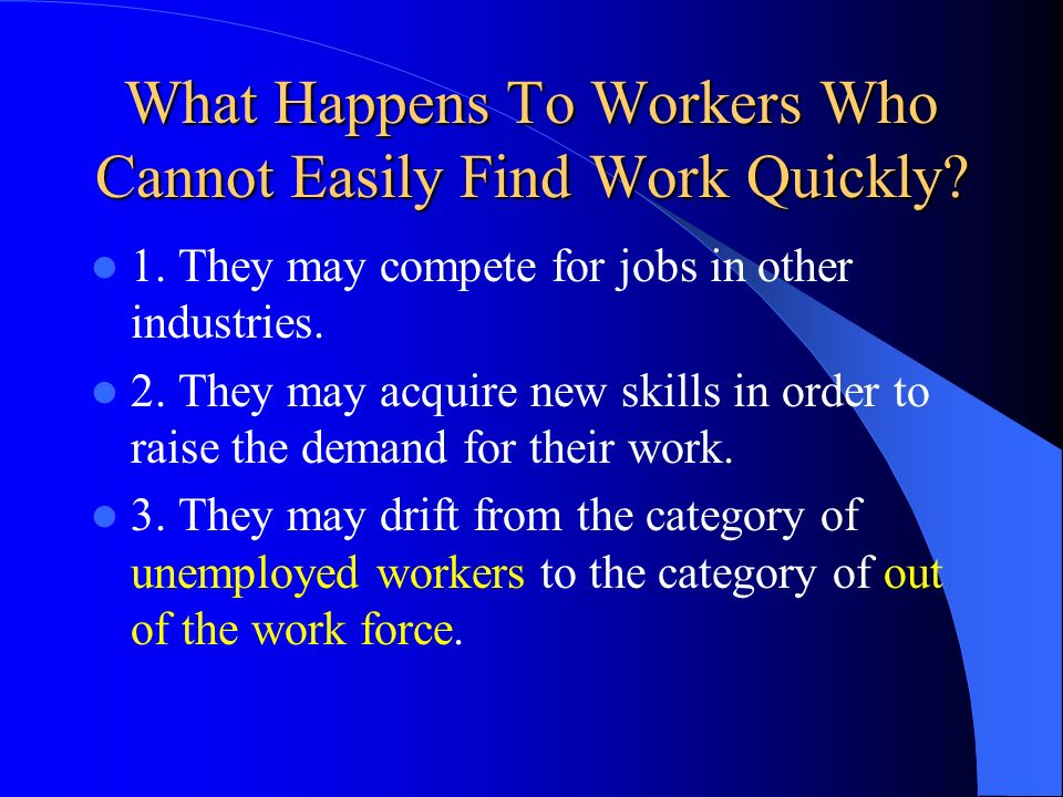 What Happens To Workers Who Cannot Easily Find Work Quickly