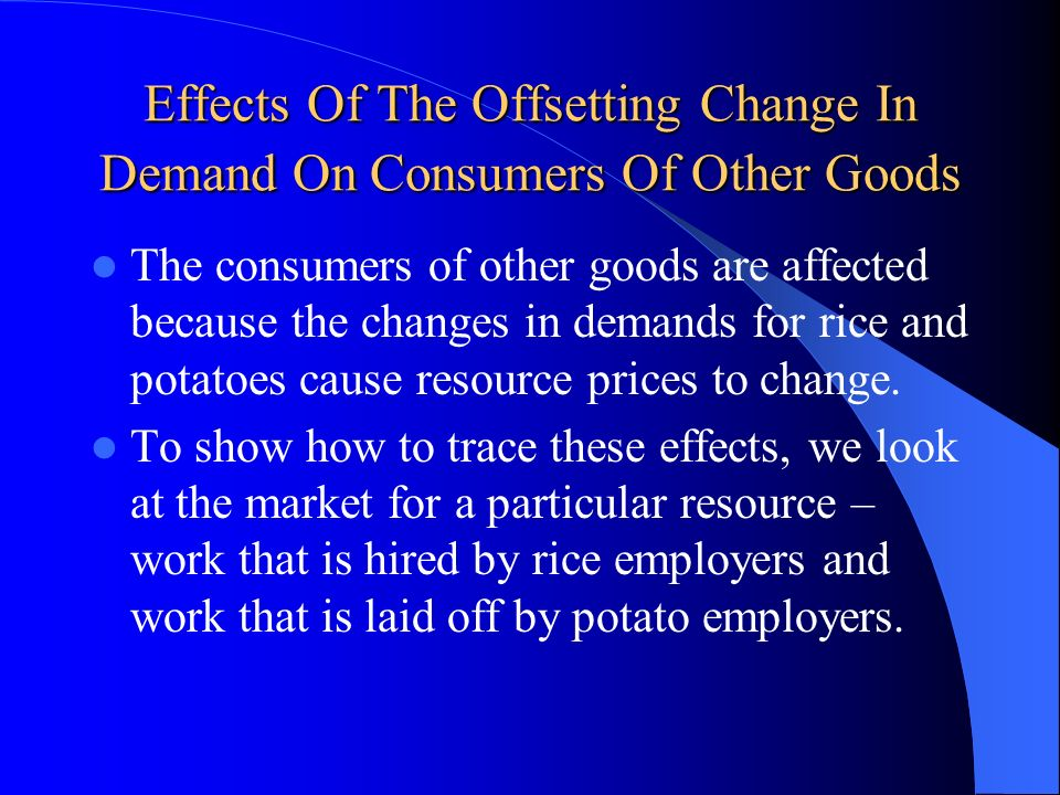 Effects Of The Offsetting Change In Demand On Consumers Of Other Goods
