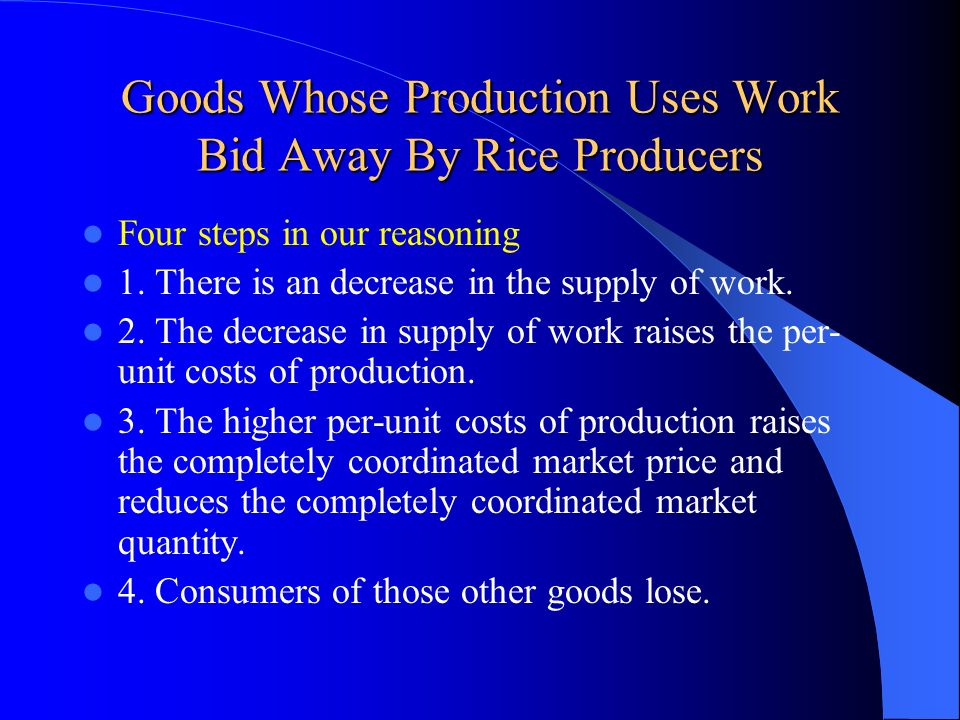Goods Whose Production Uses Work Bid Away By Rice Producers