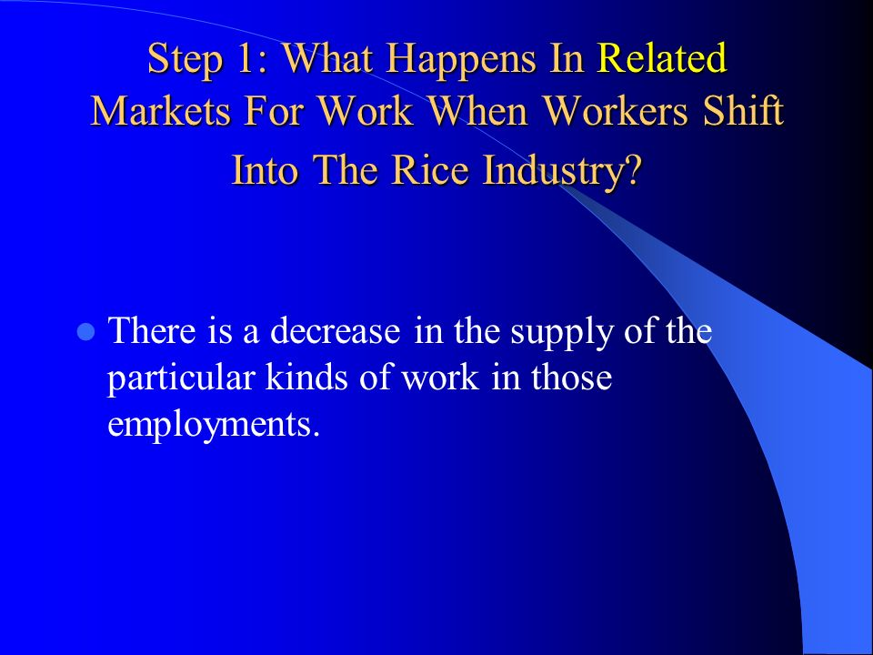 Step 1: What Happens In Related Markets For Work When Workers Shift Into The Rice Industry