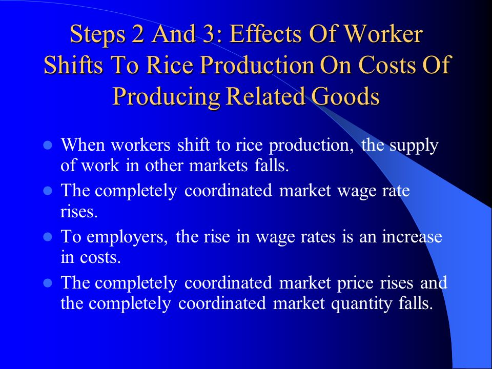Steps 2 And 3: Effects Of Worker Shifts To Rice Production On Costs Of Producing Related Goods