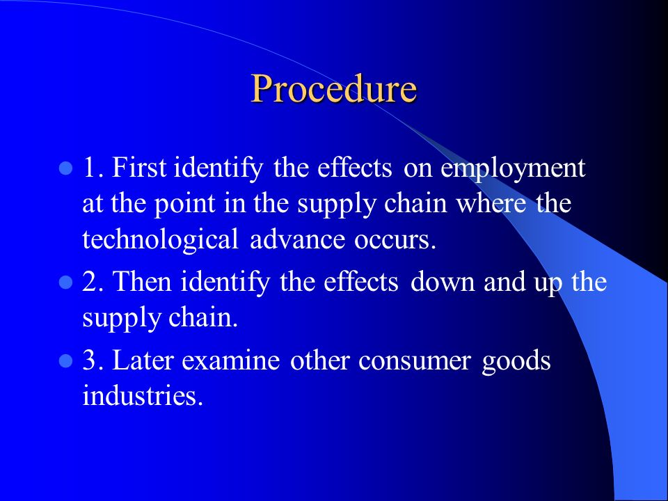 Procedure 1. First identify the effects on employment at the point in the supply chain where the technological advance occurs.