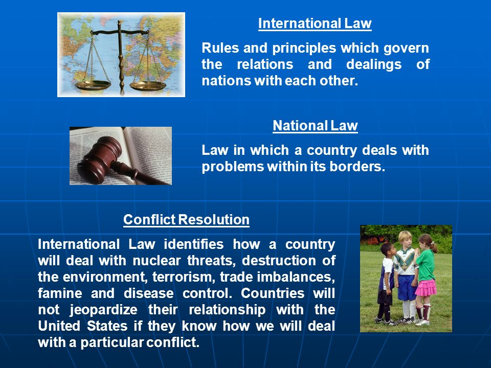 International Law Rules and principles which govern the relations and dealings of nations with each other.