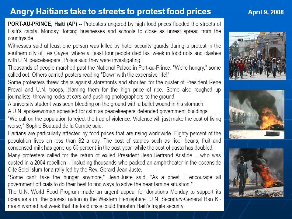 Angry Haitians take to streets to protest food prices April 9, 2008
