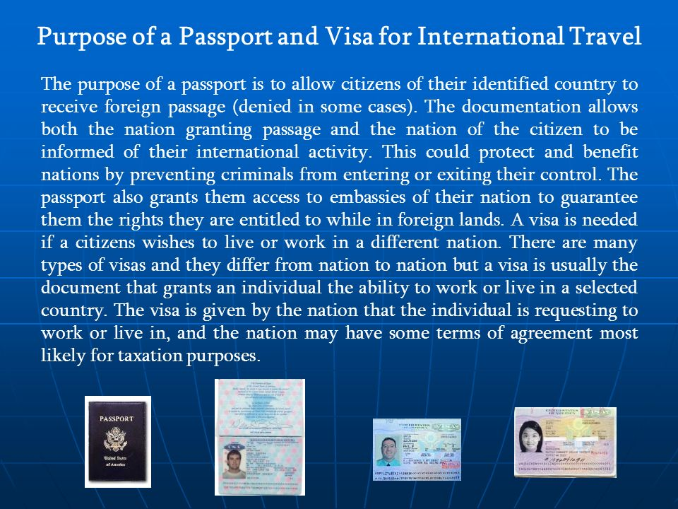 Purpose of a Passport and Visa for International Travel