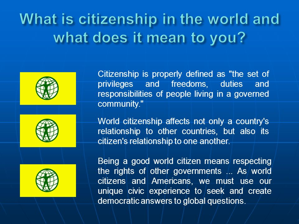 What is citizenship in the world and what does it mean to you