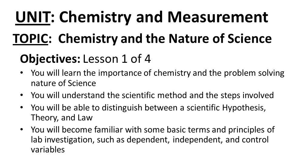 UNIT: Chemistry and Measurement