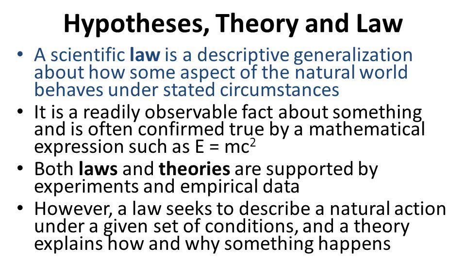 Hypotheses, Theory and Law