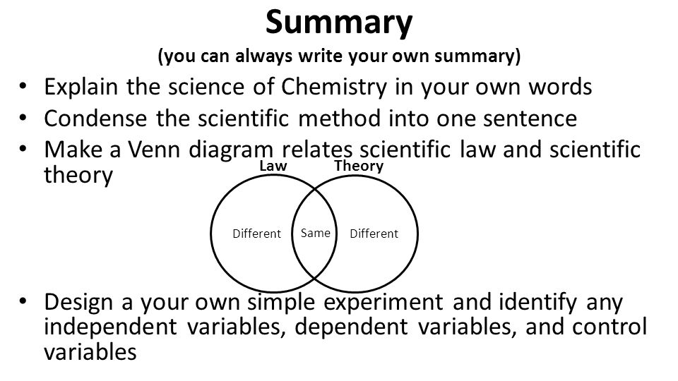 Summary (you can always write your own summary)