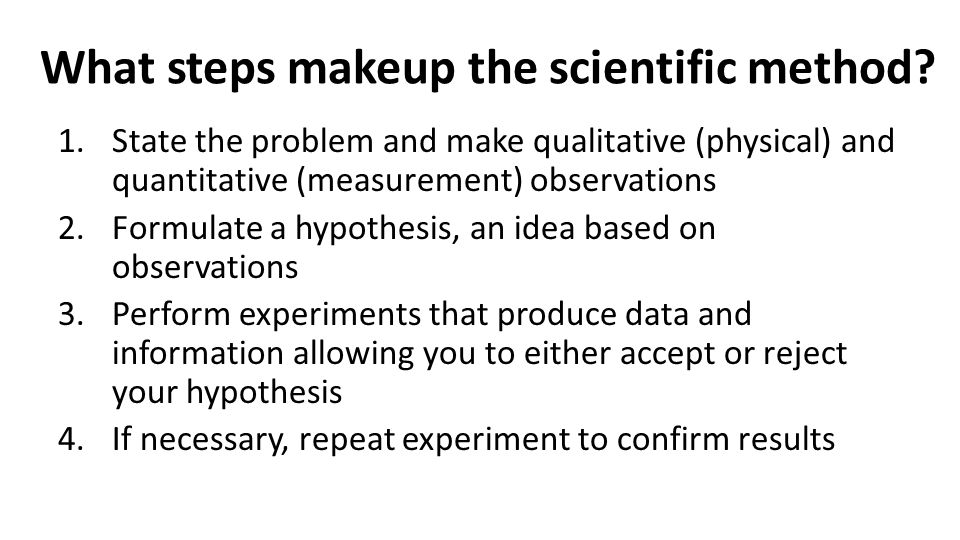 What steps makeup the scientific method