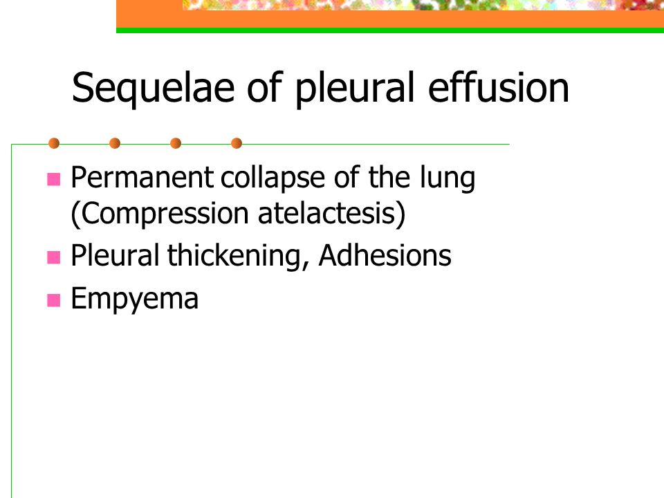 Sequelae of pleural effusion