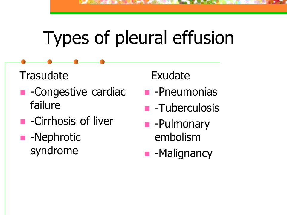 Types of pleural effusion