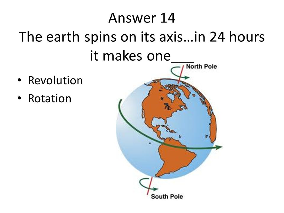Answer 14 The earth spins on its axis…in 24 hours it makes one___