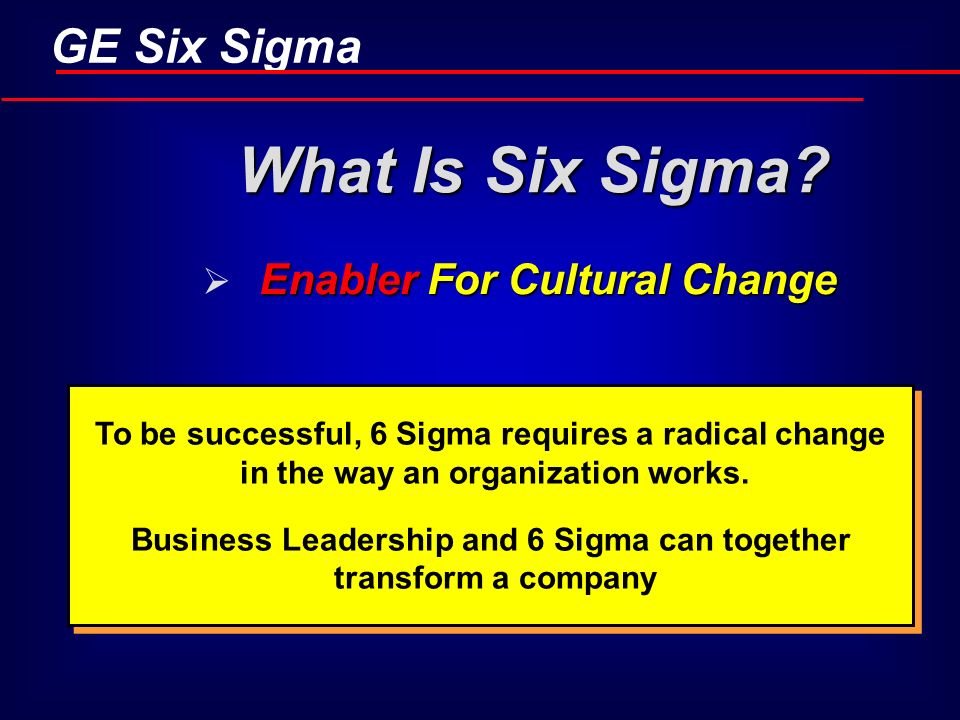 Business Leadership and 6 Sigma can together transform a company