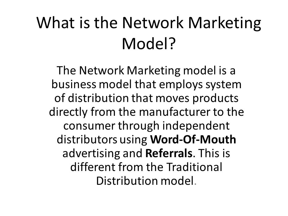What is the Network Marketing Model