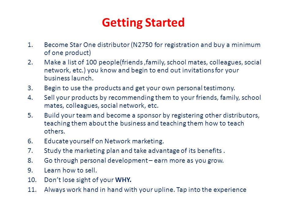 Getting Started Become Star One distributor (N2750 for registration and buy a minimum of one product)